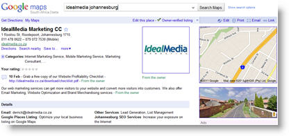 IdealMedia Google Place Page